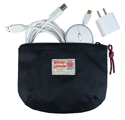 Rough Enough kleine Reisetasche Beutel für USB-Kabel und Netzteile Organizer Tasche Beutel für Mac Elektroartikel Adapter Maus Toilettenartikeltasche Rasiereretui mit Reißverschluss für Reise Schule