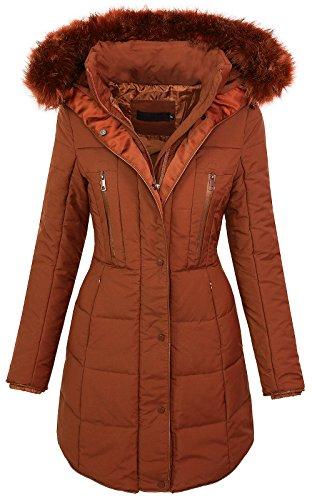 Rock Creek Selection Damen Winter Jacke Fellkragen Kapuze Steppmantel warm [D-209 - Braun - Gr. S]