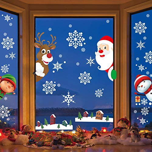 CMJL Adesivi Natalizi Fiocchi di Neve, Natale Vetrofanie Rimovibile Adesivi Murali Fai da Te Finestra Decorazione Vetrina Wallpaper Adesivi