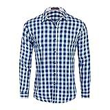 Camisa para Hombre a Cuadros de Manga Larga Casual Button Down Bolsillo Regular fit Blue White S