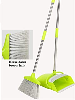 Broom and Dustpan Set, Long Handle Stainless Steel Dust Pan and Brush Set Upright Standing Cleans Broom for Sweeping Kitchen, Office or Lobby Floors (Green)