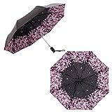 Parapluie pliant Mallalah 99% résistant triple protection contre UV coupe-vent escamotable en fibre de nervure design élégant...