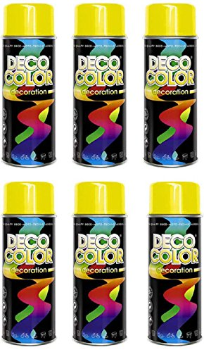 Fahrzeugteile Hoffmann 6er Sparpack DC Lackspray glänzend 400ml nach RAL freie Farbauswahl (6 Dosen in gelb Glanz RAL 1023)