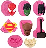 7 Pack Spiderman Batman Film Character Molds Superhero Silicone Molds Fondant Candy Chocolate Molds...