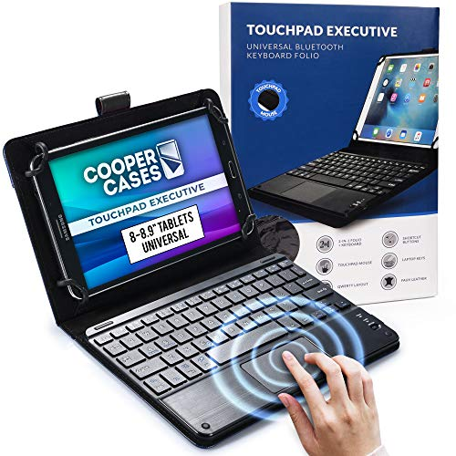 Cooper Touchpad Executive [Multi-Touch Mouse Keyboard] case for 8-8.9  Tablets | Universal Fit | iPadOS, Android, Windows | Bluetooth, Leather (Black)