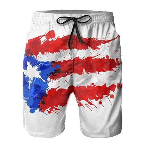 opi 90iuop Herren Badehose Flagge von Puerto Rico Quick Dry Beach Shorts mit Taschen Mesh Futter