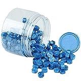 Sello Lacre, Gobesty 200 Piezas Cera de Sellado Octagonal Perlas de Cera de Sellado Sellos de Cera Sello Cera para Sellar y Decorar Cartas e Invitaciones (Azul)