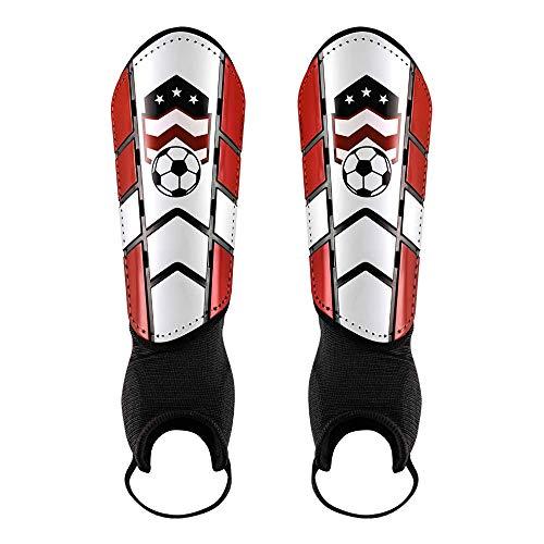 CybGene Schienbeinschoner Fußball für Kinder Herren Damen mit Knöchelschutz Entworfen, Schienbeinschützer für Jugend Erwachsene Fußballausrüstung mit Verstellbare Gurte & Atmungslöcher Rot S