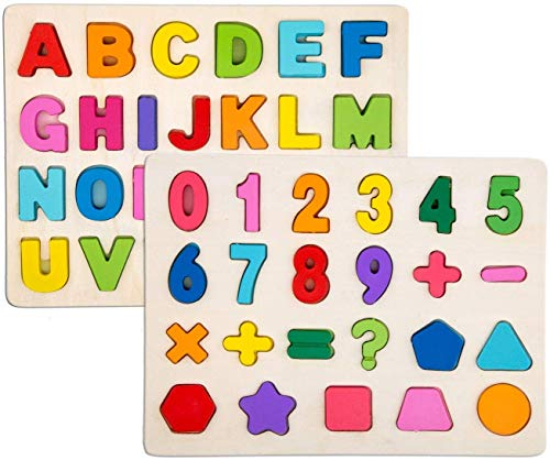 Veapero Alphabet-Blöcke, die Puzzlespiel Lernen | Lernspielzeug aus Holz für Großbuchstaben und Zahlen - Ideal für das frühe Lernen im Kindergarten für Kleinkinder und Vorschulkinder