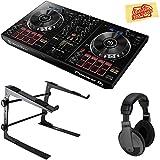 Pioneer DDJ-RB Portable 2-Channel Controller for Rekordbox DJ Bundle with Stand, Headphones, and Austin Bazaar Polishing Cloth
