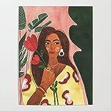 Beaxqb Kit de Pintura por Números Niña tulipán Pintura al óleo Kit con Pinceles y Pinturas, para decoración del hogar 40x50cmMarco de Bricolaje