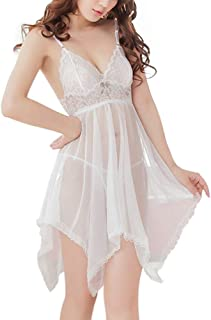 Pingtr Sexy Lingerie Set for Women for Sex, Women Lingerie Sexy See-Through Babydoll Backless Lace Nightgown Perspective M...