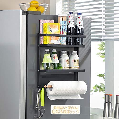 冷蔵庫サイドラック スパイスラックマグネット キッチンペーパーホルダー2つの調節可能なフック (ミディアムサイズ黒)