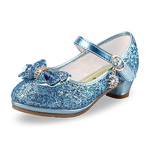 Zapatos de Lentejuelas de Niña Disfraz Princesa Zapatos Niñas Vestir Fiesta Cumpleaños Zapatos de Tacón(EU/33Azul)