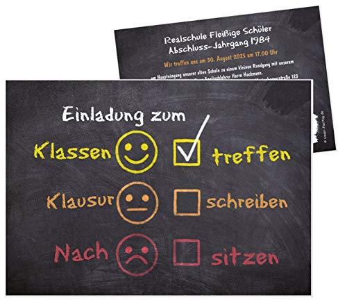 Unser-Festtag Tafel mit Smileys Klassentreffen Einladungskarten, eigener Text wird eingedruckt, für jede Schule - 90 Karten - 17 x 12 cm