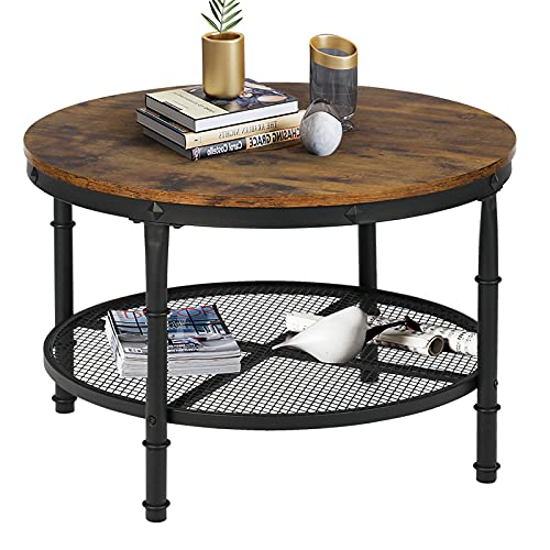 STHOUYN Small Round Coffee Table with Storage, Rustic Center Table for Living Room, Wood Surface Top & Metal Legs & Open 2-Tier Shelf, Save Space, Brown