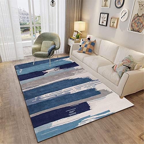 Kunsen moqueta Alfombra Infantil niña Alfombra de Oficina Rectangular Azul Gris cómodo y Duradero. Cuadros Blancos 50X80CM 1ft 7.7' X2ft 7.5'