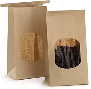 BagDream Bakery Bags with Window Kraft Paper Bags 50Pcs 3.54x2.36x6.7 Inches Tin Tie Tab Lock Bags Brown Window Bags Coffee Bags Cookie Bags Treat Bags