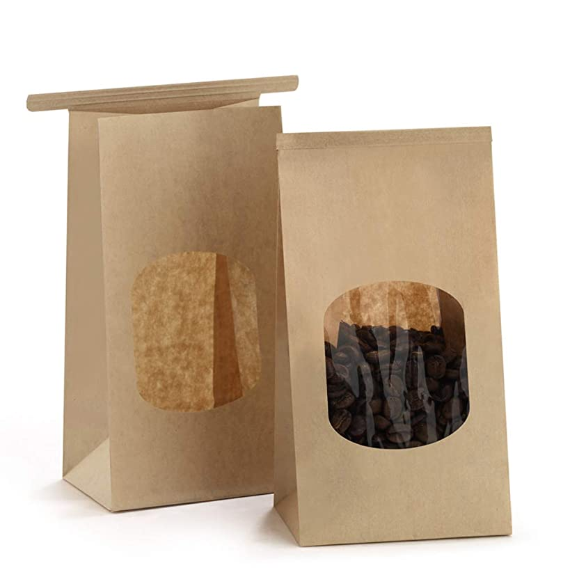 BagDream Bakery Bags with Window Small Kraft Paper Bags 100Pcs 3.54x2.36x6.7
