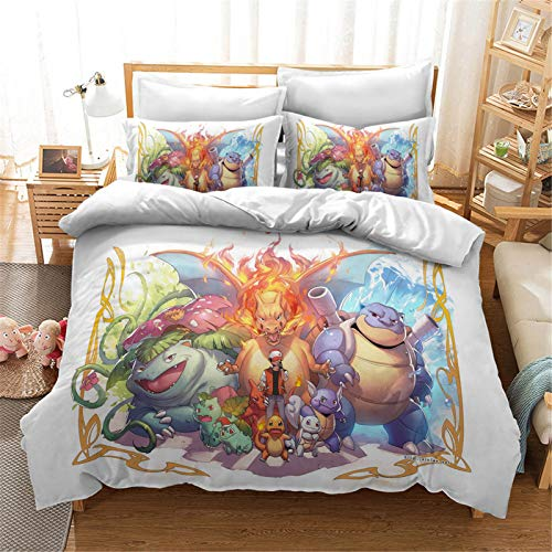SMNVCKJ Pokemon Bedding Sets with Pillowcases, 3D Bed Linen 100% Microfibre, Thick and Soft, Suitable for Boys and Girls (1, Double 200 x 200 cm)