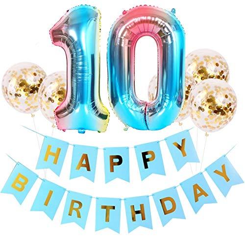 DIWULI, großes Geburtstagsdeko-Set, Happy Birthday Girlande zum Aufhängen + 5 Konfetti Latex-Ballons Gold + Zahl 10 blau Zahlen-Ballon für 10. Geburtstag, Party, Dekoration, Luftballon, Folien-Ballon