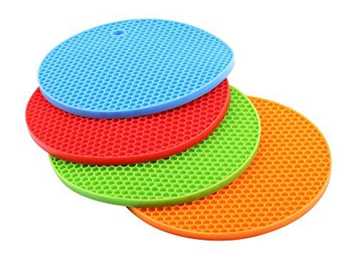 Sottopentola del silicone, set di 4, resistente fino a 230 ° C di calore, lavabile in lavastoviglie, in particolare di alta qualità, multifunzionale, sottopiatto, presine / sottopentola