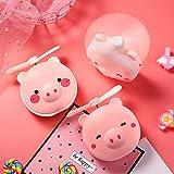 XuBa Ventilateur Compact pour Femme avec Miroir de Maquillage et éclairage LED Motif Cochon