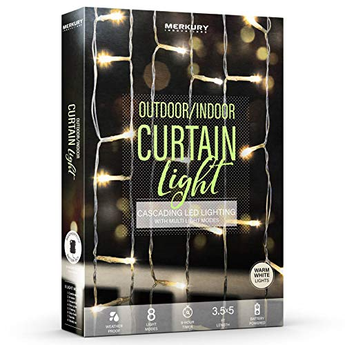Merkury Innovations Indoor/Outdoor Weatherproof Cascading Curtain Lights with Flashing Modes, Battery-Operated LED Lighted Backdrop Curtain for Bedroom, Wedding, Decoration, or Christmas (Warm White)