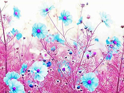 5D DIY Crystal Full Diamond Plastic Diamond Painting Blue Flowers Embroidery Set Cross Stitch Mosaic Decor 15.7×19.7Inches