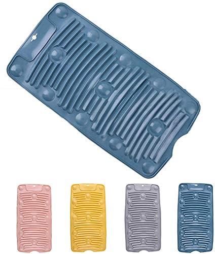 シリコン折りたたみ式洗濯板、滑り止めポータブルトラベルミニ洗濯板、家庭用洗濯板ブルー