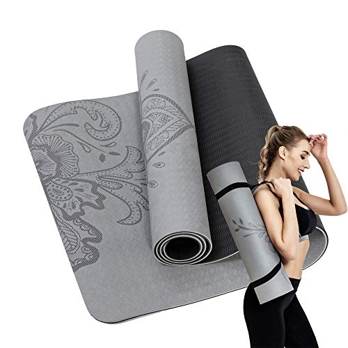 Yoga Mat - 1/4 Inch Non Slip Fitness Exercise Mat with Carrying Strap-Workout Mat for Yoga, Pilates and body-building (Gray Mandala)