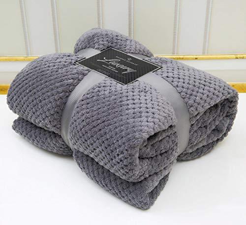 LJ Mantas de lujo estilo gofre de palomitas de maíz súper suaves y cálidas para sofá y cama (carbón, doble – 150 x 200 cm)