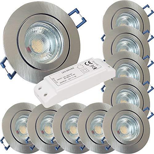 LED Bad Einbaustrahler 12V inkl. 10 x 3W LED LM Farbe Eisen geb. IP44 LED Einbauleuchten Aqua Rund 3000K mit Trafo