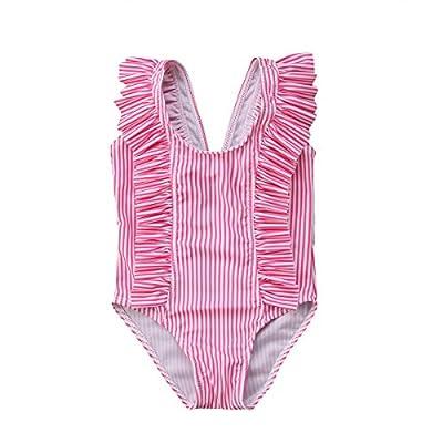 Karuedoo Baby Girl One Piece Swimsuit Off Shoulder Ruffled Flounce Bathing Suit Swimwear Beach Bikini (18-24M, Pink Striped)