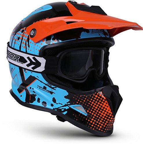 Soxon SKC-33 Kinder-Cross-Helm, ECE Schnellverschluss SlimShell Tasche, XS (51-52cm), Fusion Orange