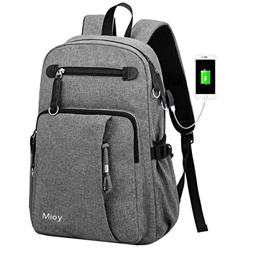 Mioy Schulrucksack groß Herren Slim Business Laptop Backpack Leinwand Schulranzen wasserdicht College Schultasche 15.6'' Notebook Rucksack Mode Reiserucksack Computer Tasche (Grau)