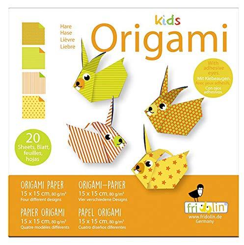 Fridolin Origami-Hase faltet 15 x 15 cm 20 Stück Mehrfarbig