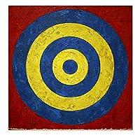 ZNNHEROジャスパージョーンズ「ターゲット」ポスターは、リビングルームバーの壁アートキャンバス絵画を印刷しますカフェの装飾-60X60Cmx1フレームなし