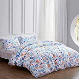 NexHome Paisley Floral Print Duvet Cover Set, Queen Bedding Duvet Cover with Zipper Closure and 2 Pillow Shams - Corner Ties