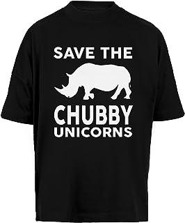 Save The Chubby Unicorns Unisex Camiseta Holgada Hombre Mujer Mangas Kortas - Unisex Baggy T-Shirt Black