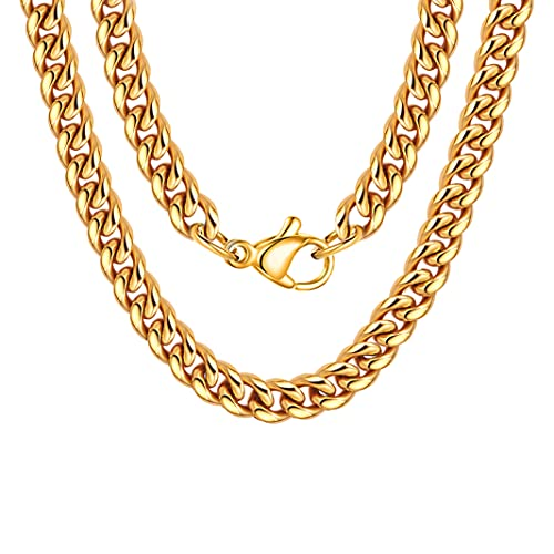 18k Real Gold Plated Curb Cuban Chain Necklace Stainless Steel Link Necklace for Men Women 6mm 18 Inches