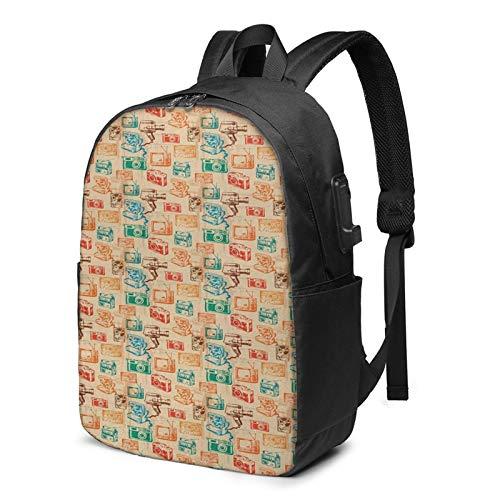 Laptop Backpack with USB Port Camera Tv Cassette School, Business Travel Bag, College School Computer Rucksack Bag for Men Women 17 Inch Laptop Notebook