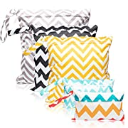 5Pcs Waterproof Reusable Wet Bag Diaper Baby Cloth Diaper Wet Dry Bags with 2 Zippered Pockets Travel Beach Pool Bag (3 Sizes)