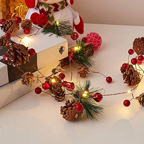 Danolt 8 Style LED Christmas Pine Cones Garland, 2M 20LED Fairy String Lights Battery with Red Berry Bells for Christmas Party, Garden&Indoor Outdoor Decor Light (Not Including Battery,Waterproof)