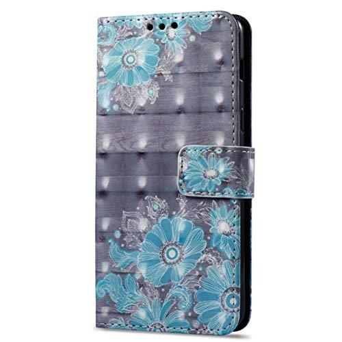 Surakey Funda Xiaomi Redmi 4A Marco de Cuero de la PU Flip Protectora de Cuerpo Completo Case Cover Slim Case de Estilo Billetera Carcasa Libro de Cuero para Xiaomi Redmi 4A,Flor Azul