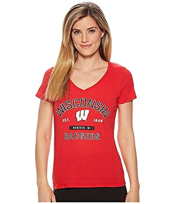 順番水銀の警告するチャンピオンカレッジ Champion College レディース トップス シャツ ブラウス Scarlet Wisconsin Badgers University V-Neck Tee [並行輸入品]