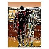 HNZKly Messi Cristiano Ronaldo Lienzo Pared Arte FúTbol Jugador Estrella Poster Atleta Graffiti Impresiones Famosos Cuadro Moda Pinturas NiñOs Sala Decoracion 40x55cm Sin Marco