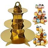 3 Stück Gold Tortenständer aus Karton, 3 Etagen Servierständer Muffinständer Cupcake Ständer für Geburtstag Party, Kaffeetafel, Hochzeit, Babypartys - Wiederverwendbar Etagere