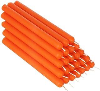 NKlaus 25x orange Bienenwachs 12cm rußfrei Tafelkerzen farbige Osterkerzen Ritualkerze Hochzeitskerzen Tropfkerzen 36344