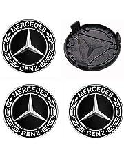 4 Stuks 75 Mm Mercedes-Benz Zwarte Naafafdekking Naafafdekking Mercedes-Benz Naafafdekking Naafafdekking